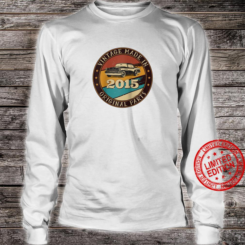 6 Years Old Retro Vintage Car Made In 2015 6th Birthday Shirt long sleeved
