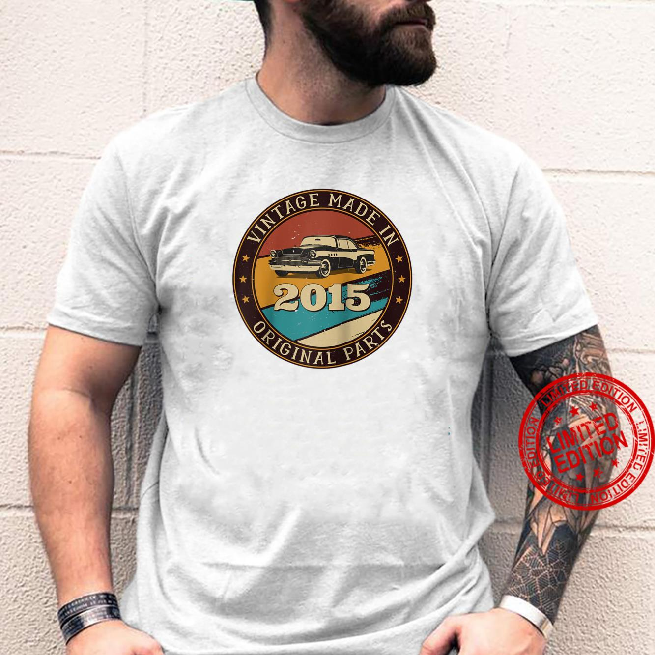 6 Years Old Retro Vintage Car Made In 2015 6th Birthday Shirt