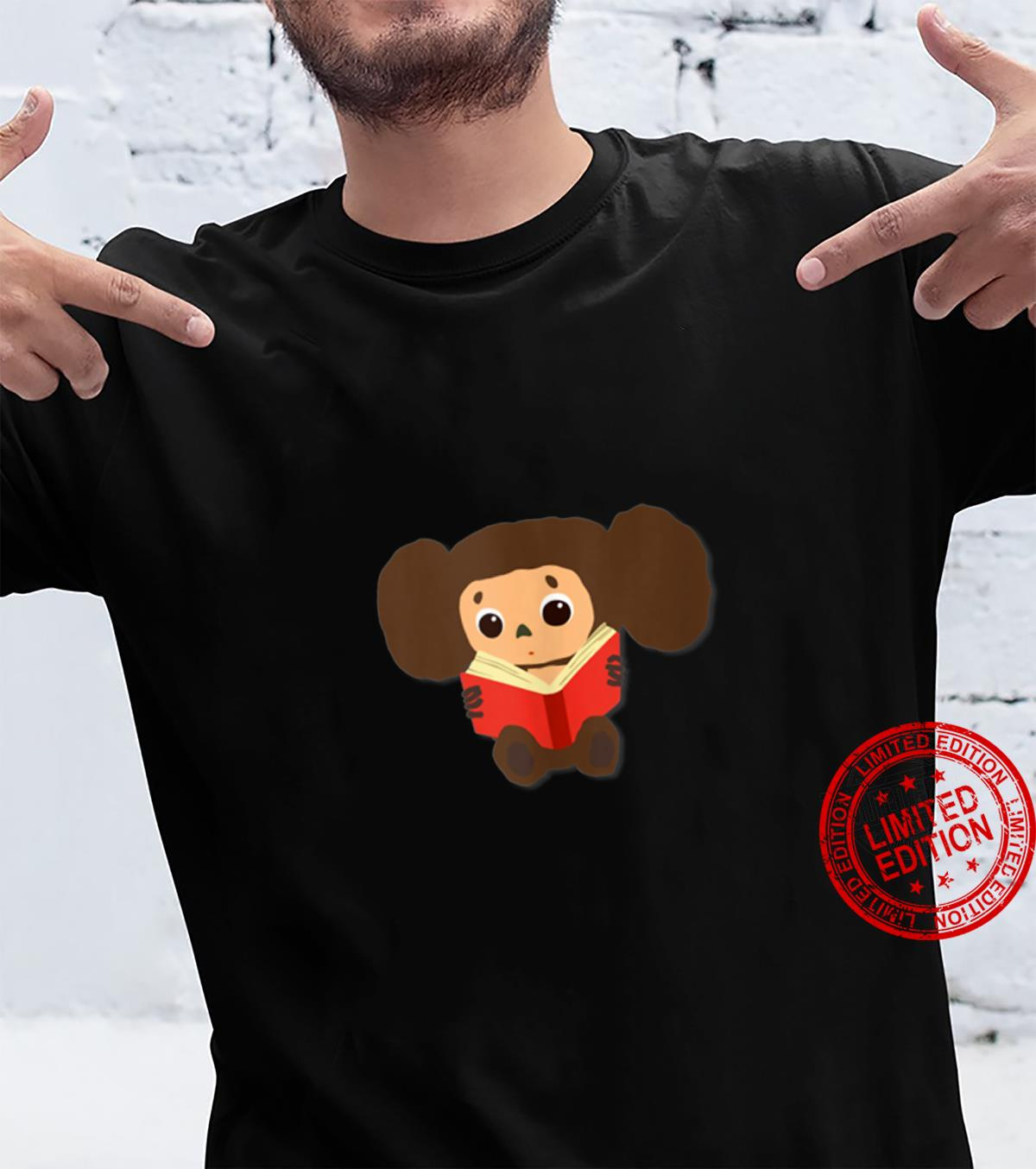 Cheburashka Doll Reading a Book Drawing Russian Toy Cartoon Shirt