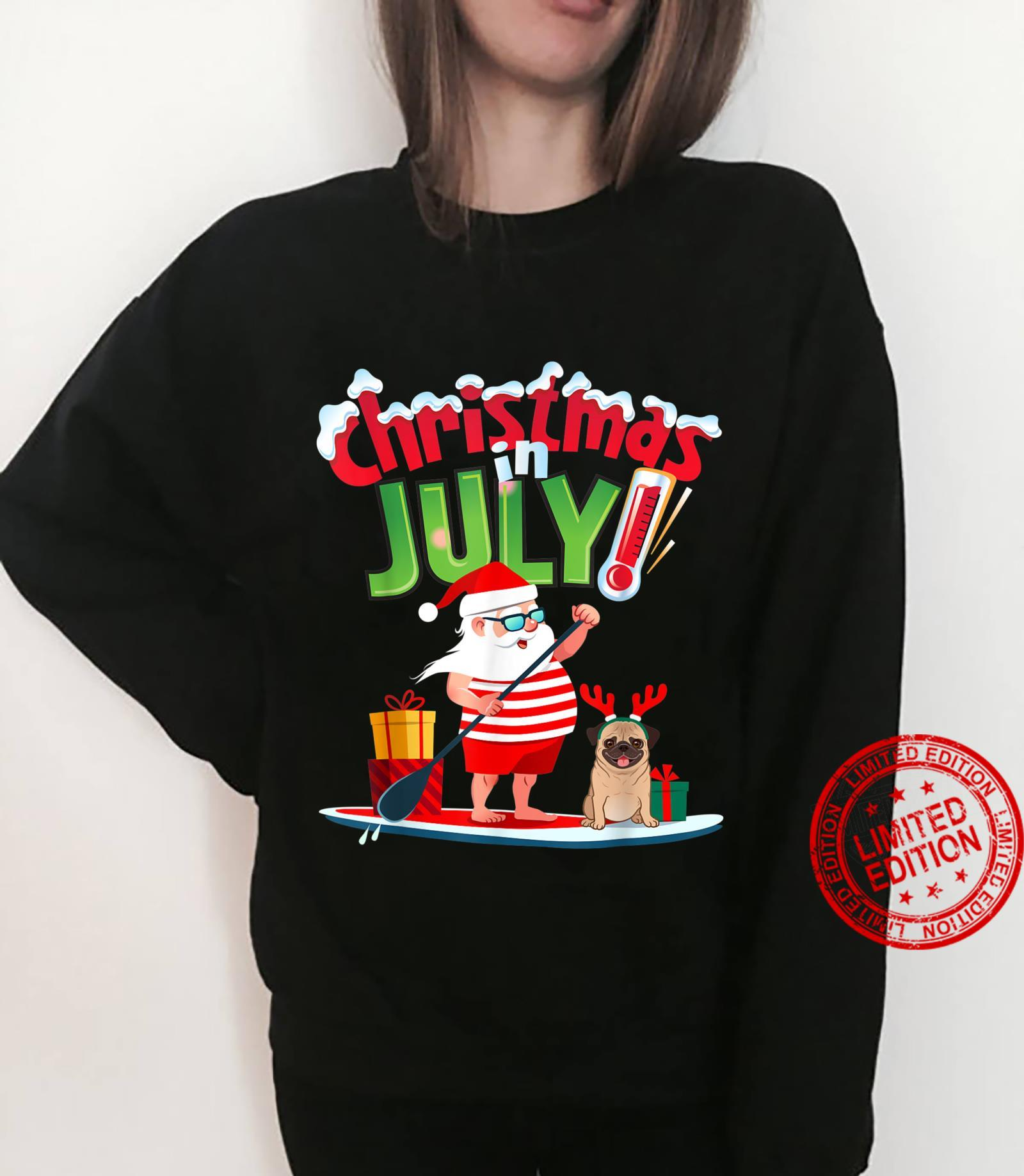 Funny Christmas in July Shirt Summer Beach Vacation Pool Pug Shirt sweater