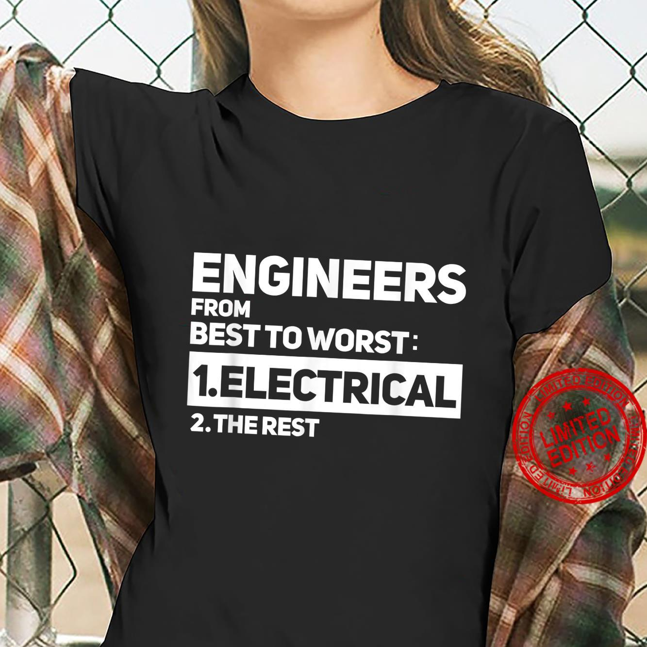 Funny Engineers From Best To Worst Electrical Engineering Shirt ladies tee
