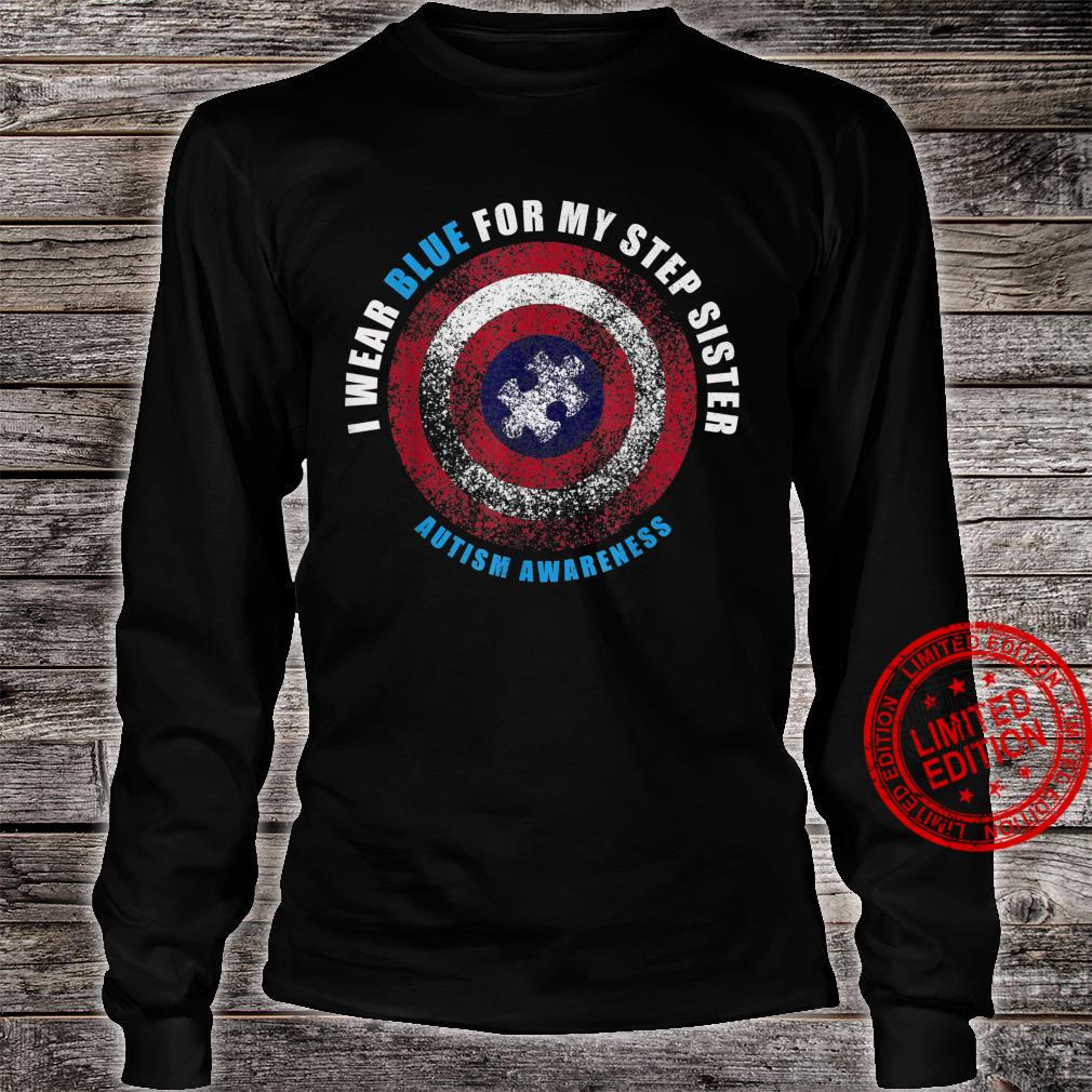 I Wear Blue For My Step Sister Sibling Autism Awareness Shirt long sleeved