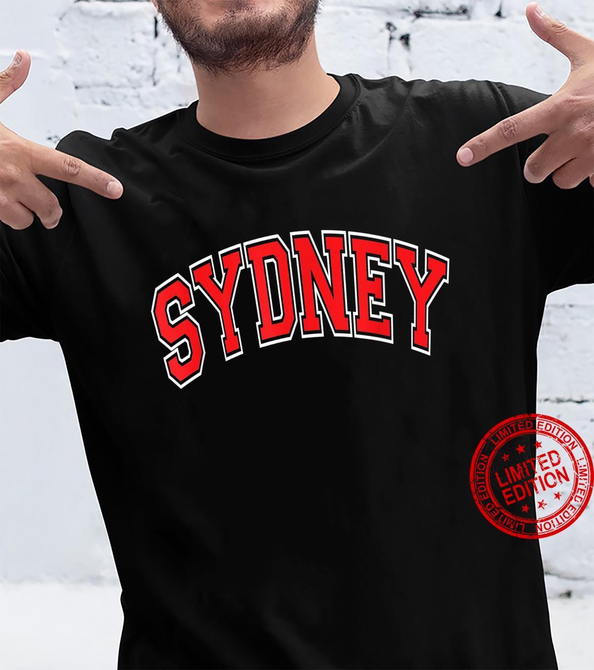 Sydney Australia Varsity Style Red Text Shirt