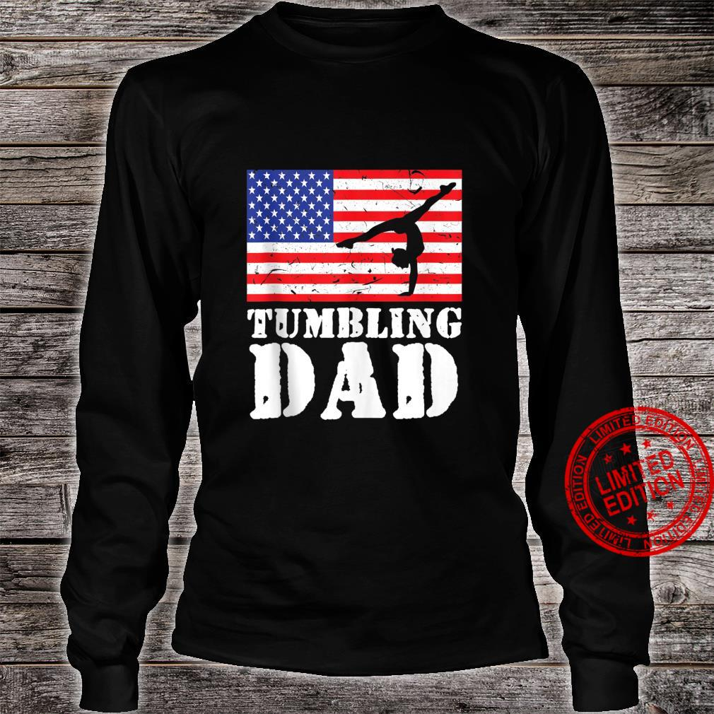 USA American Distressed Flag Tumbling Dad For Him Shirt long sleeved