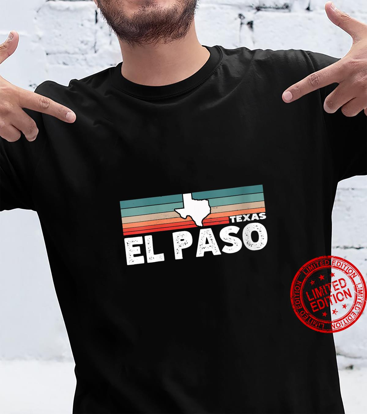 Womens Vintage Retro El Paso TX Tourist Native Texas State Shirt