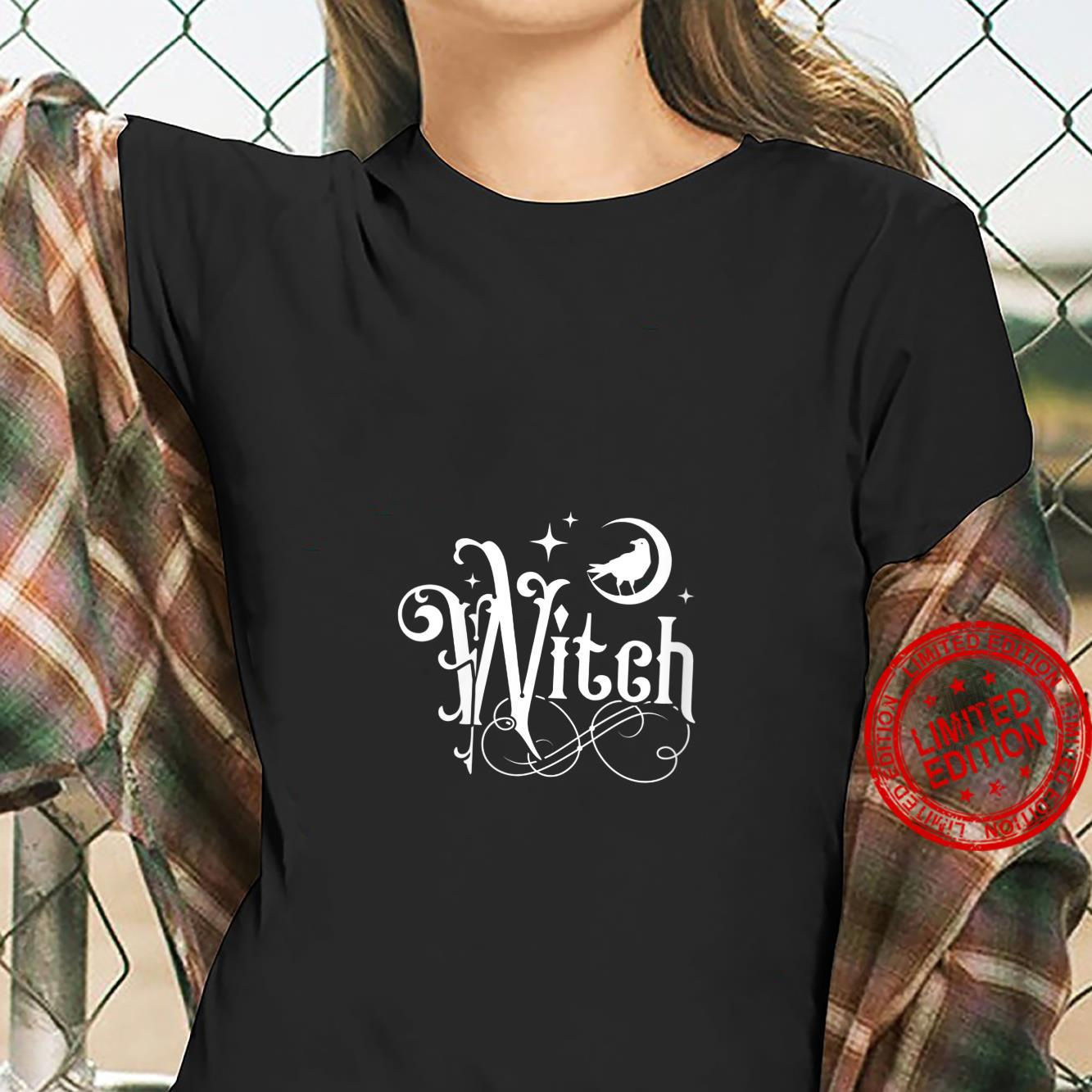 Womens Witch With Moon And Raven Shirt ladies tee