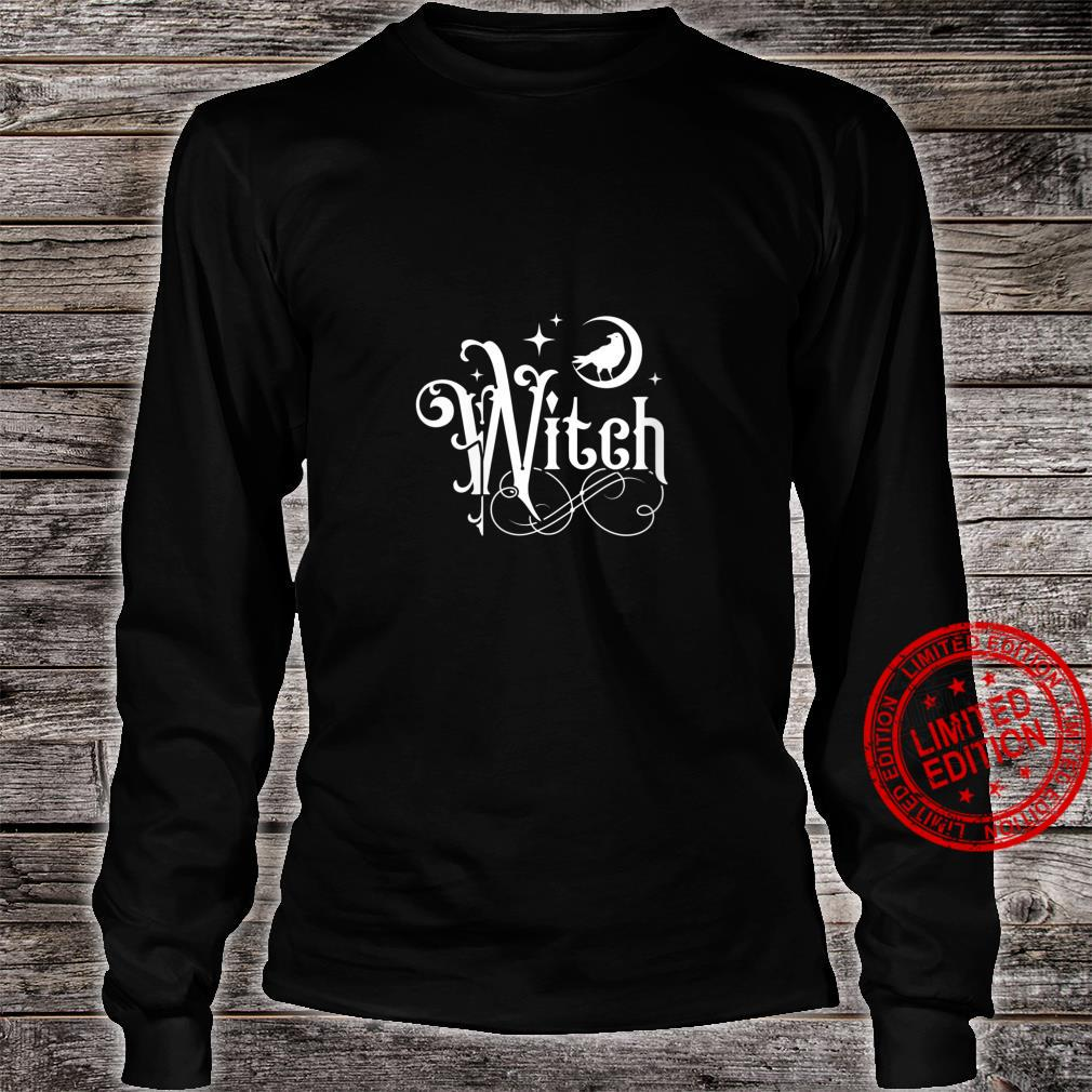 Womens Witch With Moon And Raven Shirt long sleeved