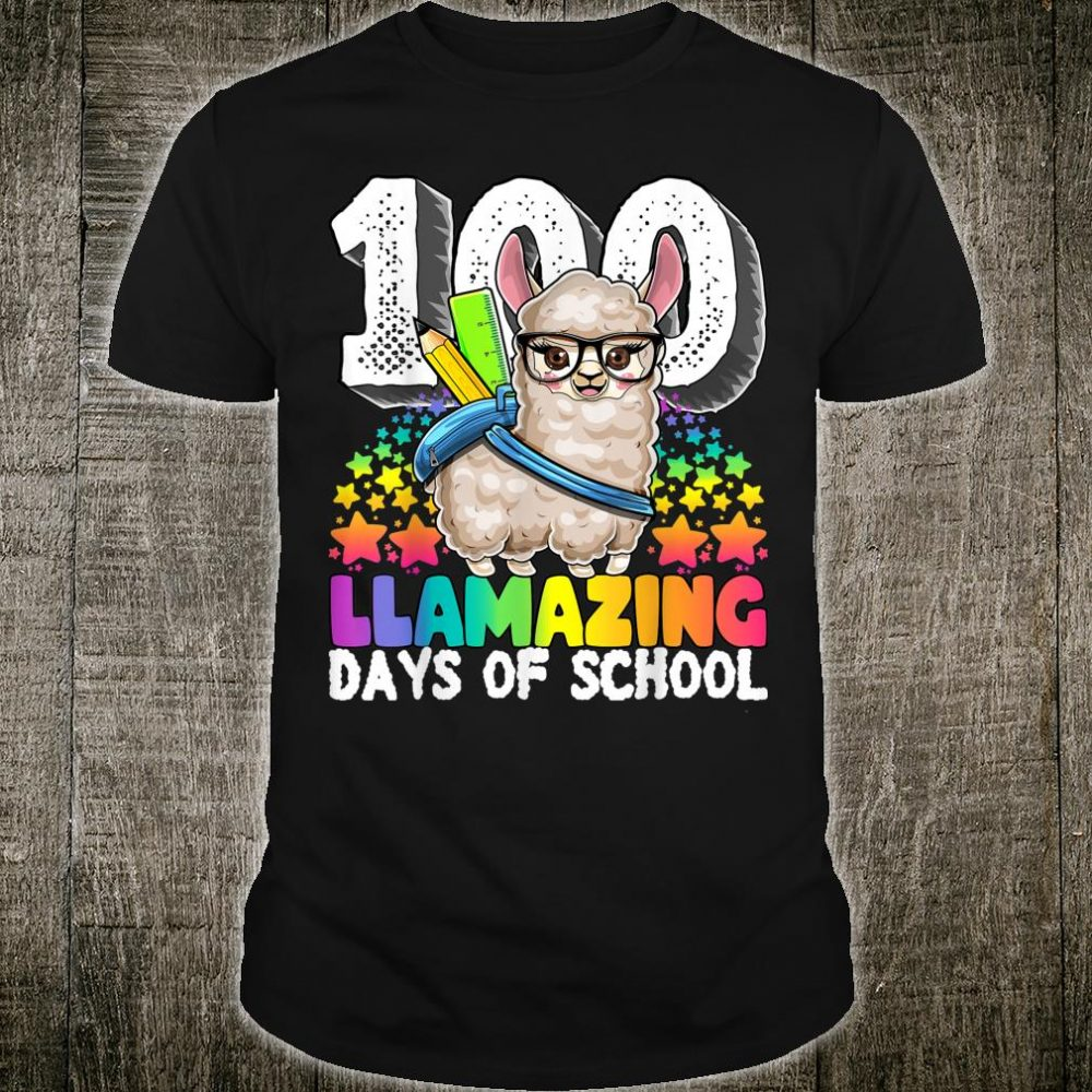 100 Llamazing Days of School Llama Teacher Girls Shirt