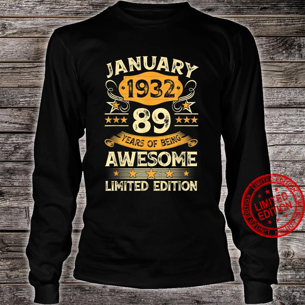 89 Years Old Vintage January 1932 89th Birthday Shirt long sleeved