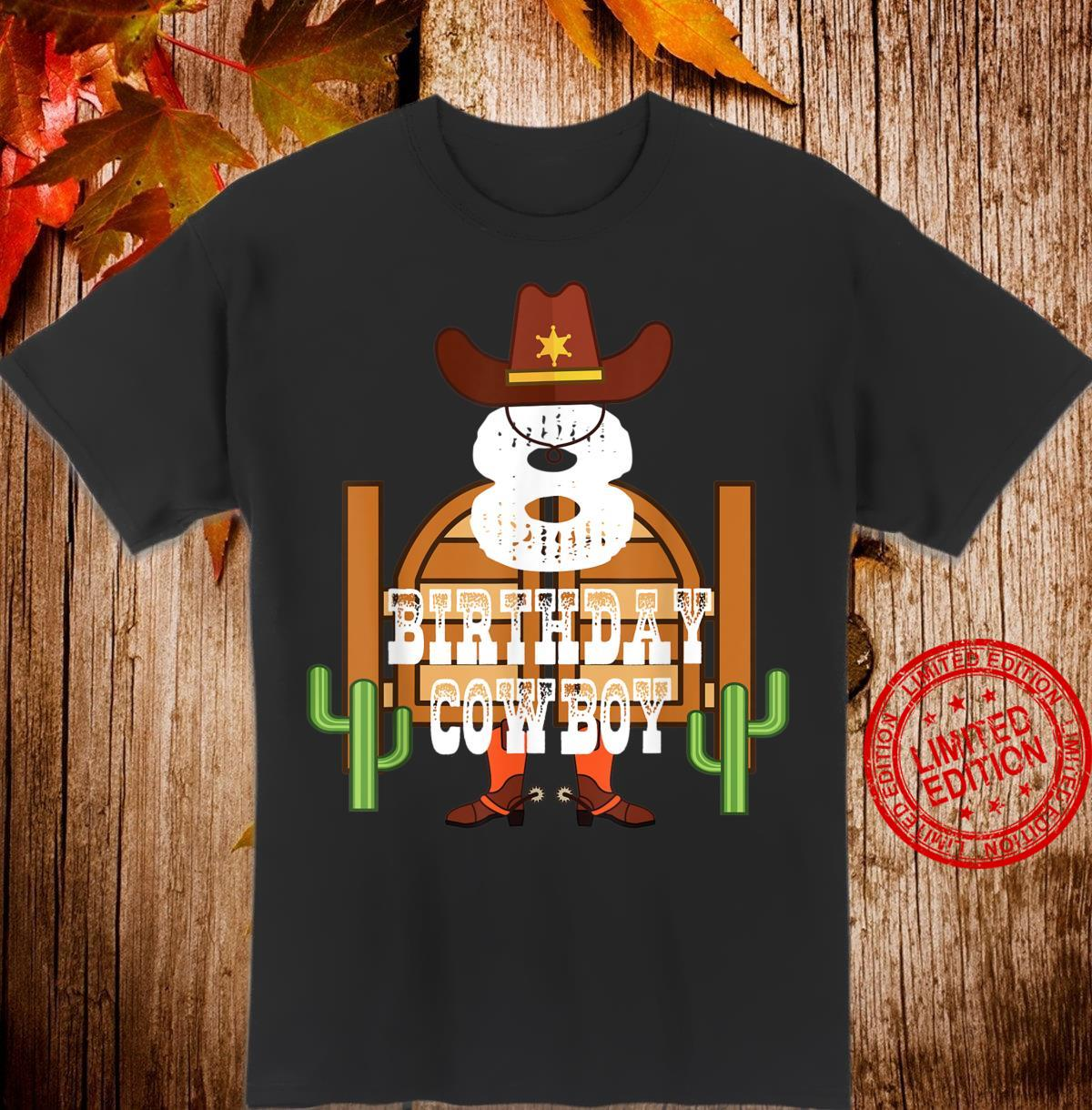 8th Birthday Cowboy Kid 8 Years Old Rodeo Party Shirt