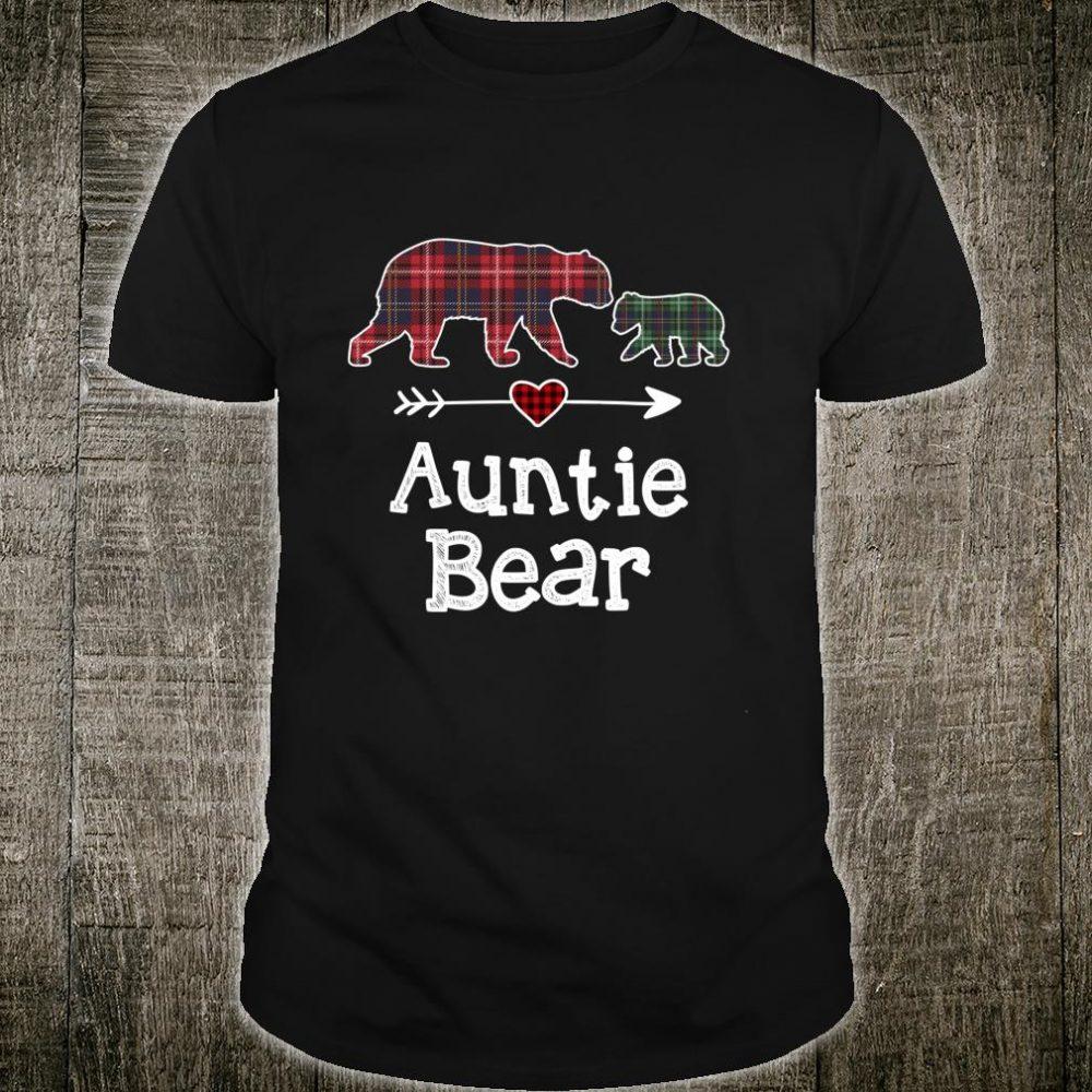 Auntie Bear Christmas Pajama Red Plaid Buffalo Family Shirt