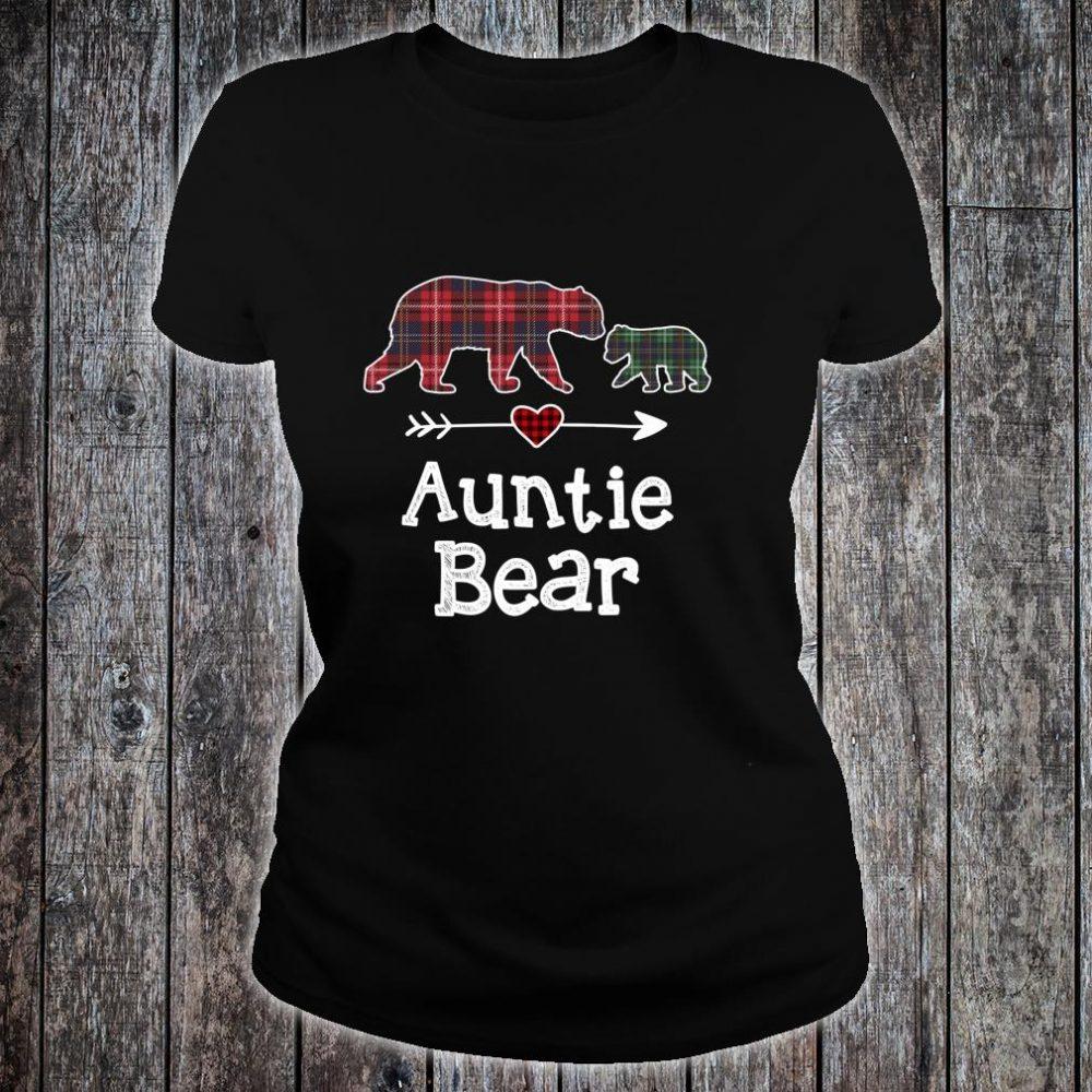 Auntie Bear Christmas Pajama Red Plaid Buffalo Family Shirt ladies tee