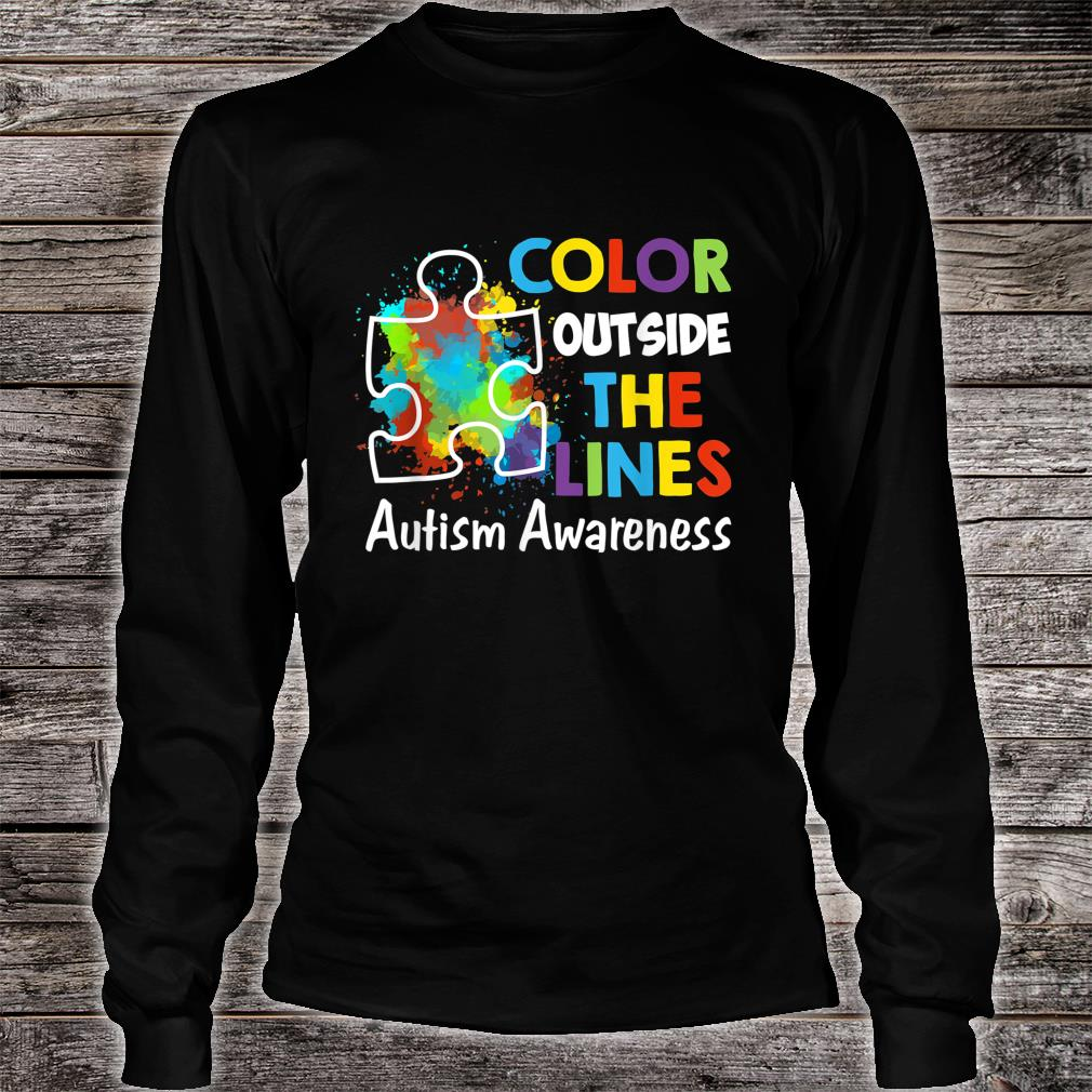Autism Awareness Gift Colour Outside The Line Shirt long sleeved