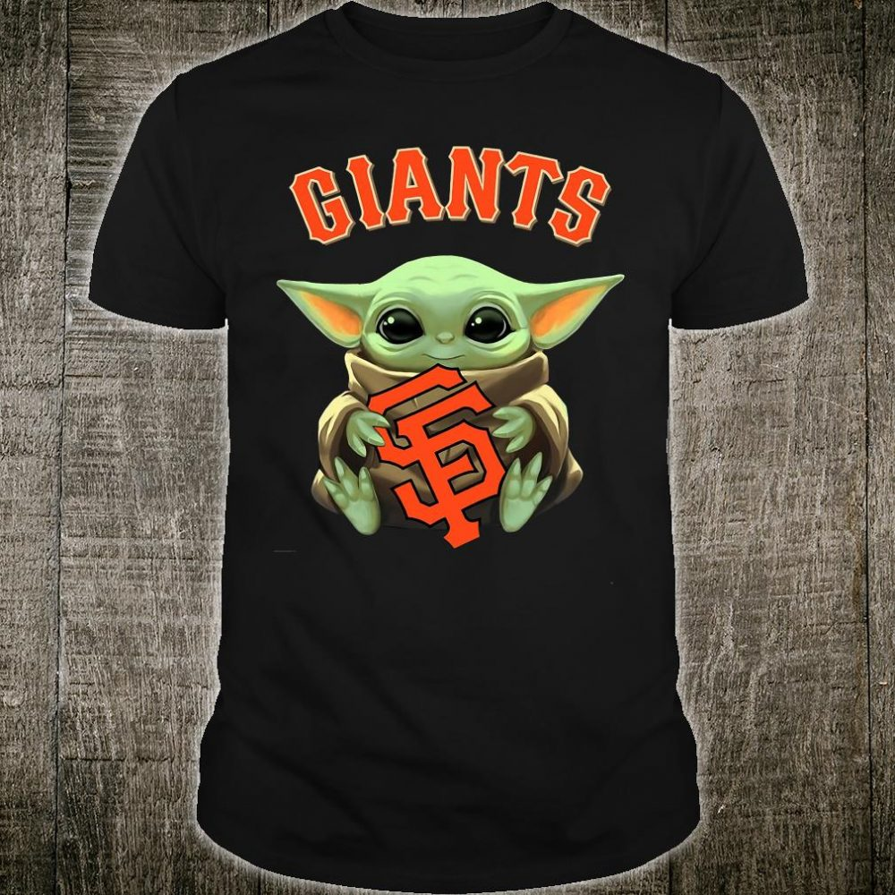 Baby Yoda hug Giants logo shirt