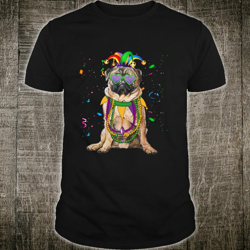 Beads and Pug Mardi Gras Costume Shirt