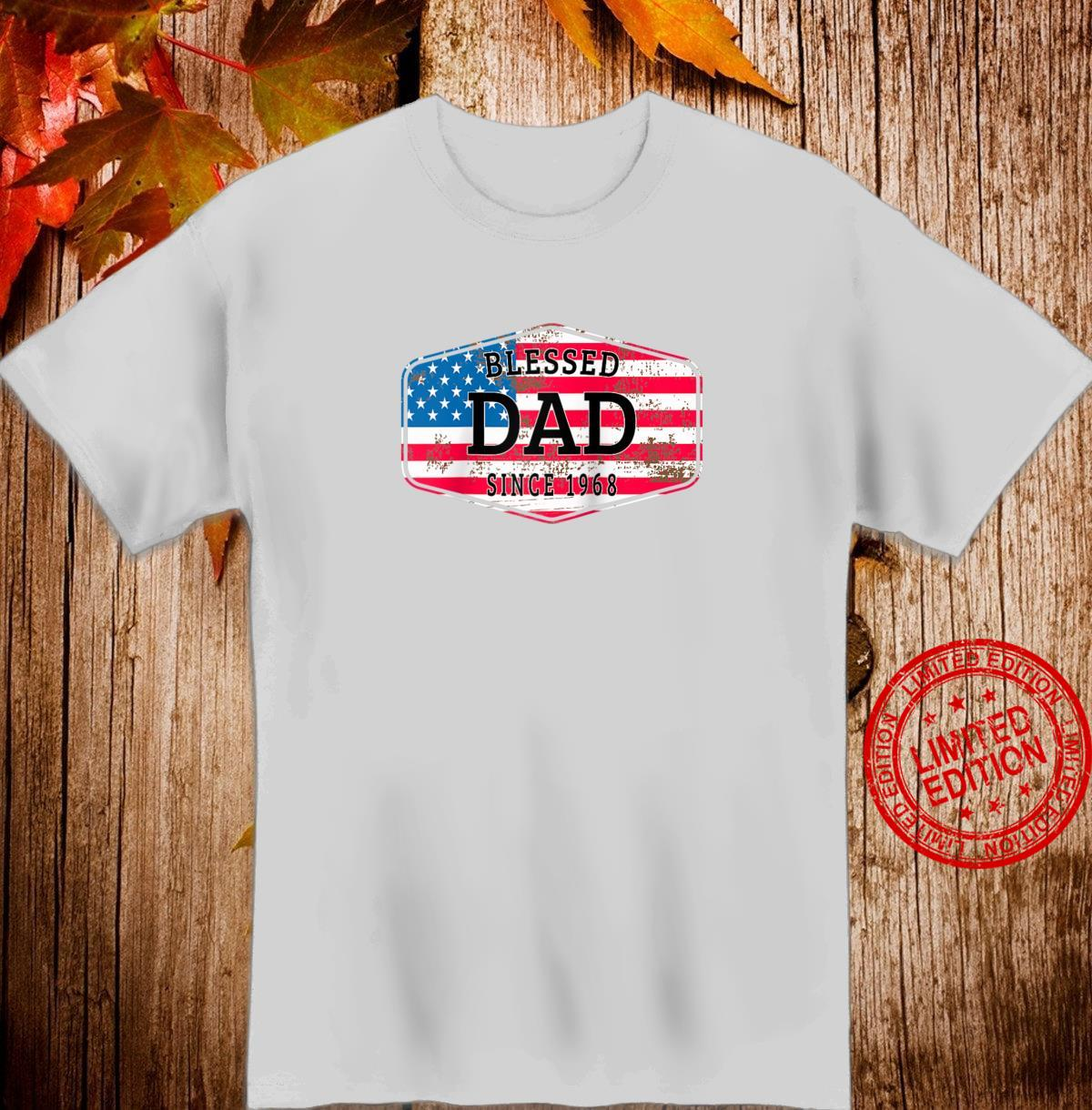 Blessed Dad Since 1968 Vintage American Flag Shirt