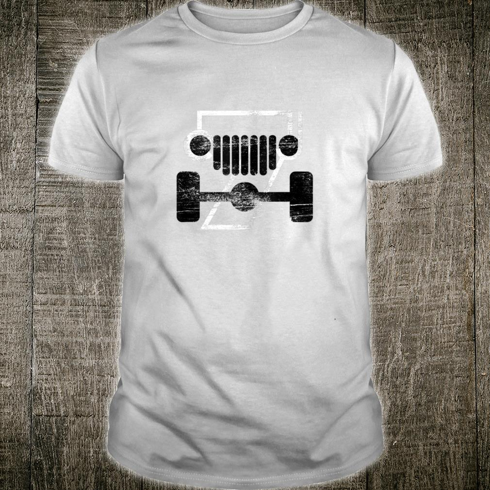 CJ-7 Off-Roading Jeep Love Black and White Distressed Shirt