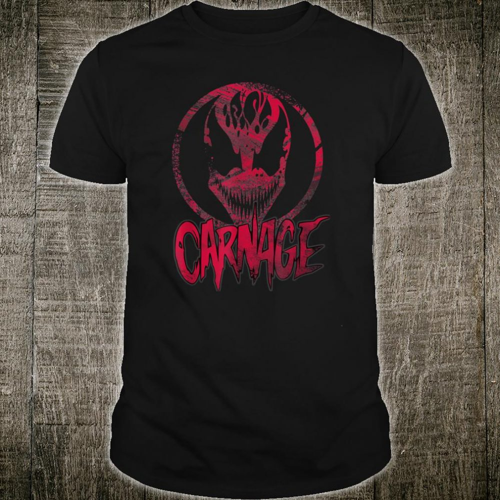 Carnage Single Coated Red Painted Face Logo Shirt