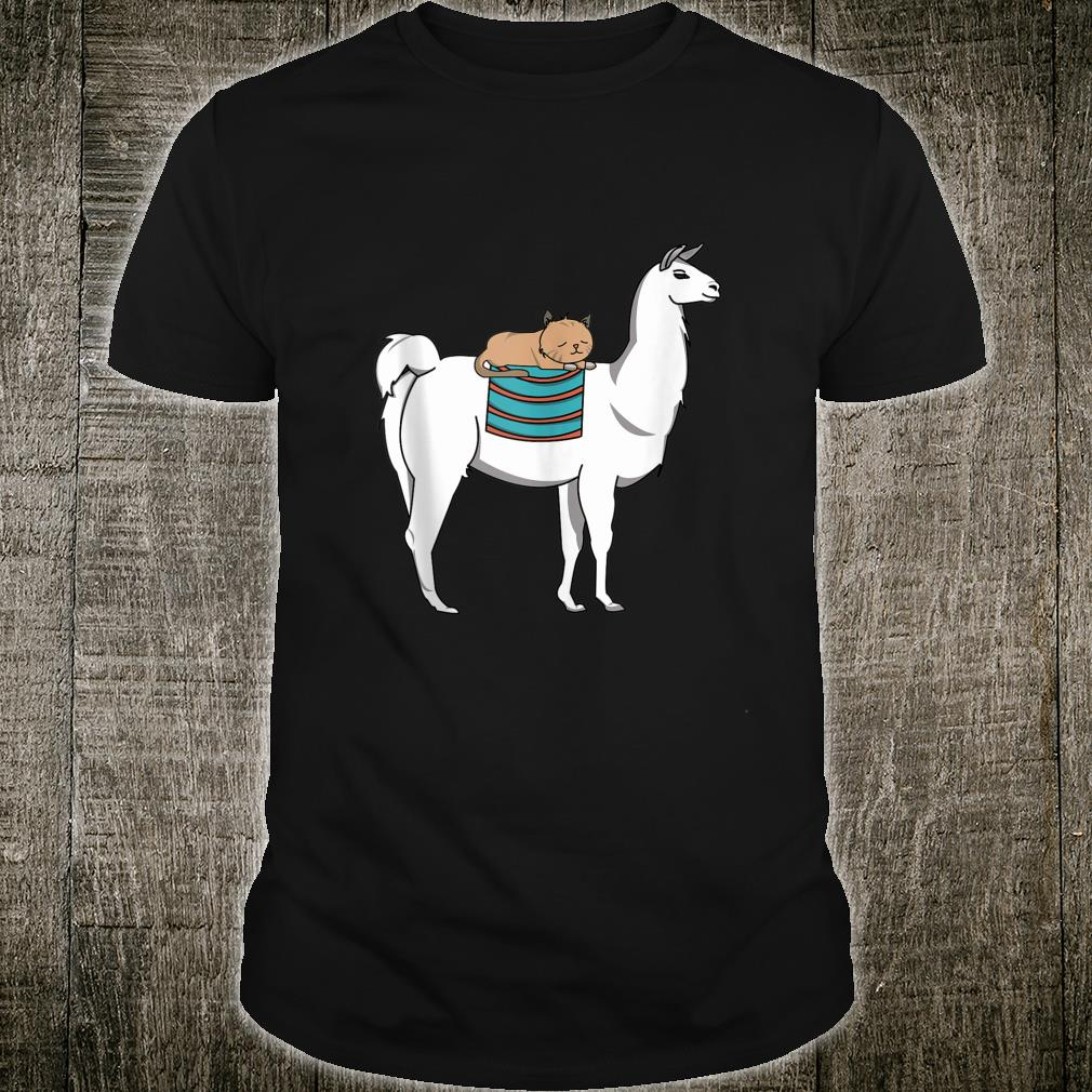Cat Sleeping Over Llama Cute Animal Christmas Shirt