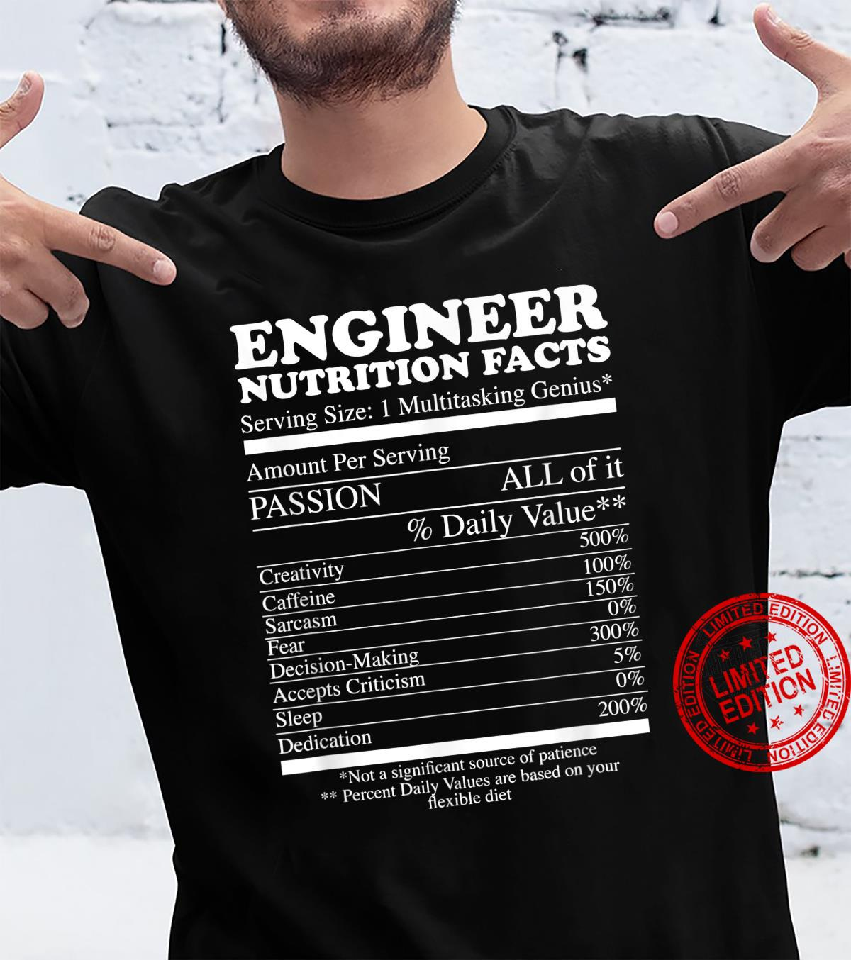Engineer Nutrition Facts Shirt