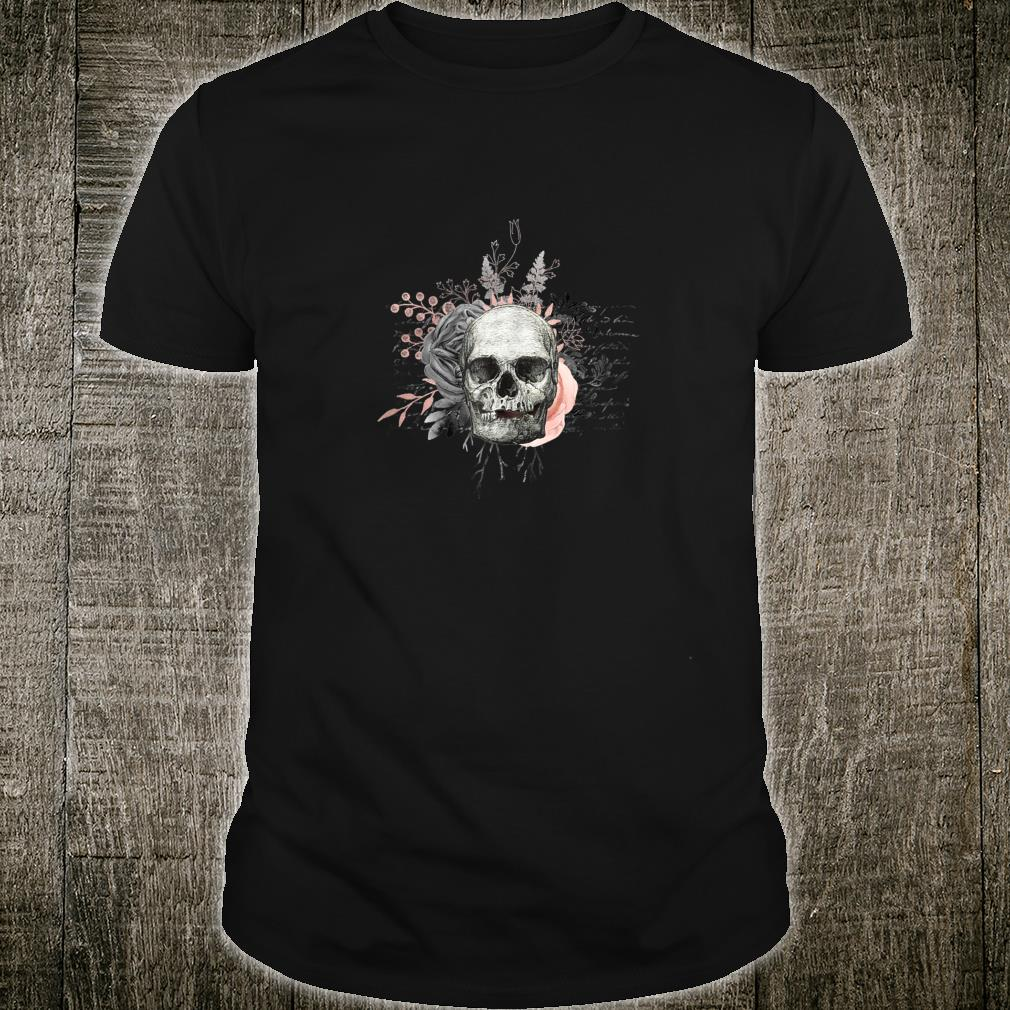Great floral skull with pink-grey flowers Shirt