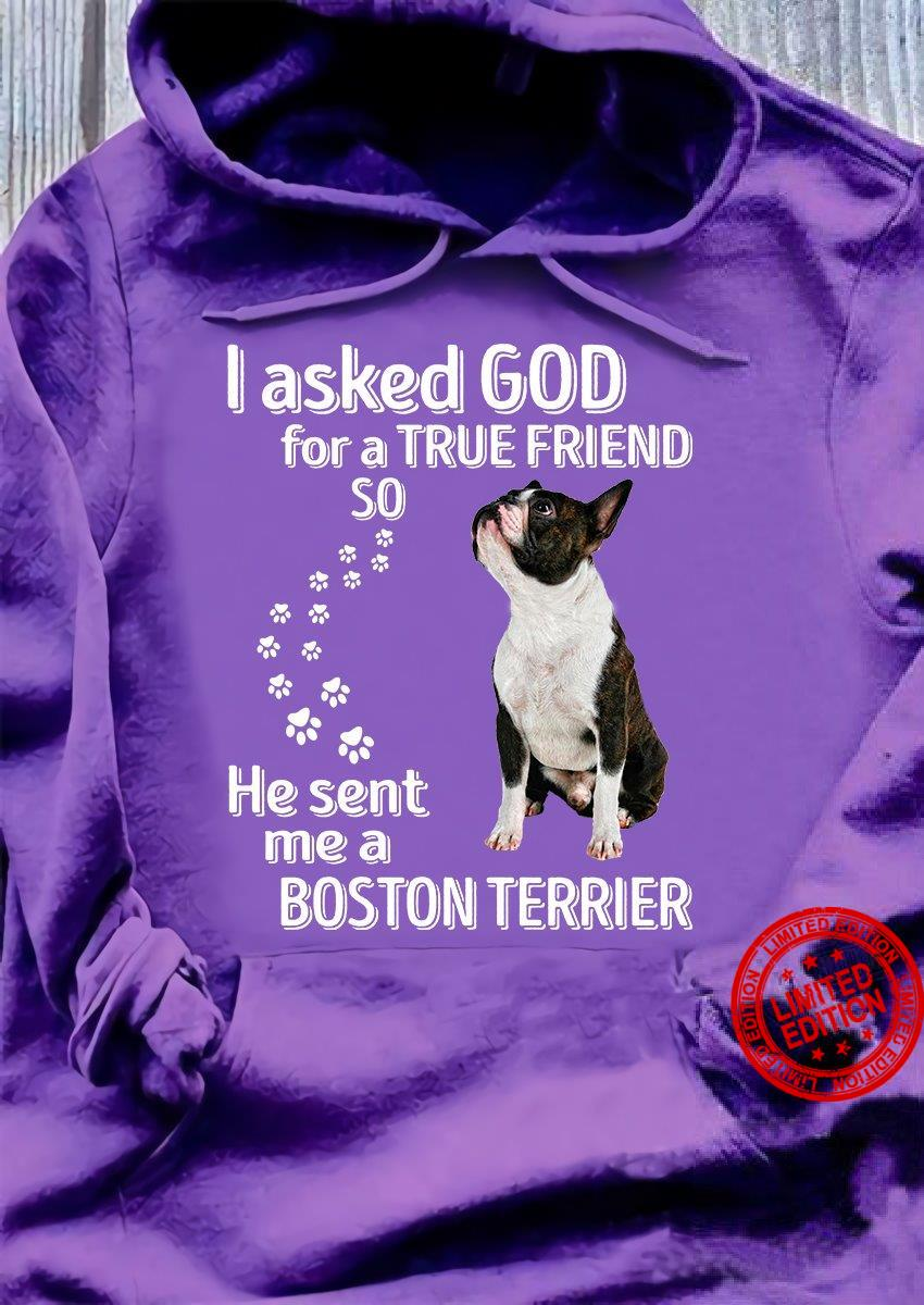 I Asked God For A True Friend So He Sent Me A Boston Terrier Shirt