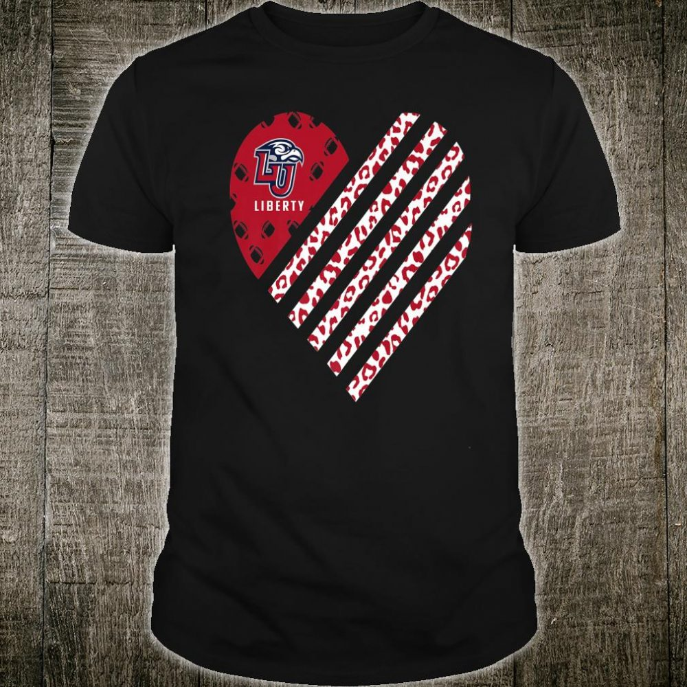Liberty Flames Football Leopard Flag Heart Shirt