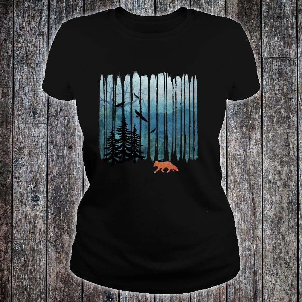 Misty Forest Fox - Brush Strokes Shirt ladies tee