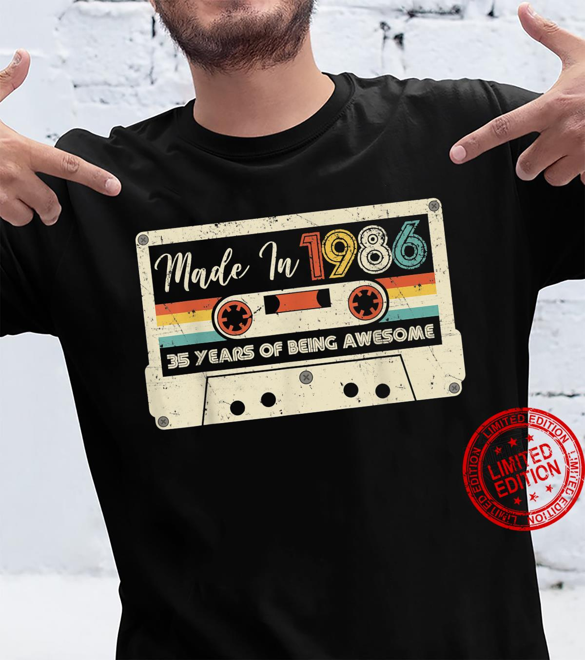 Vintage 1986 Retro Cassette Made in 1986 35th Birthday Shirt