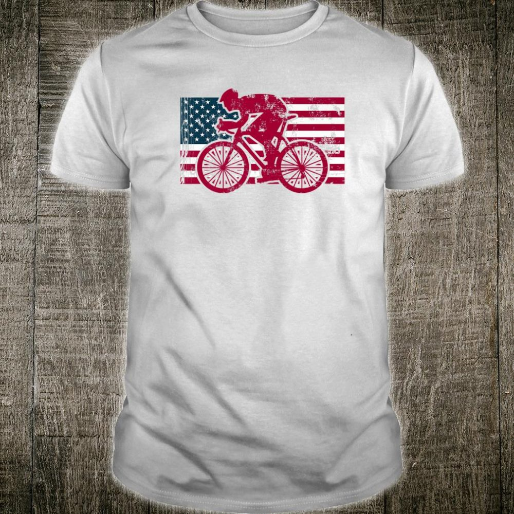 Vintage American Flag Cyclist Bicycle Cycling Shirt