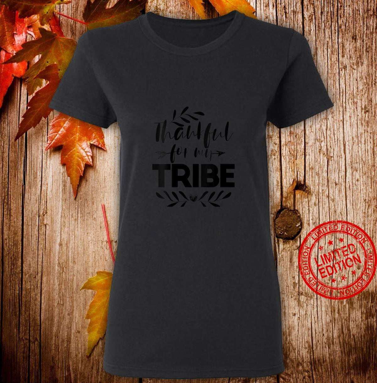 Womens Thankful For My Tribe Thanksgiving For Family Shirt ladies tee